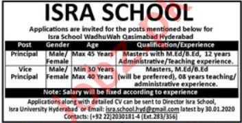 Isra School Jobs For Principal & Vice Principal in Hyderabad