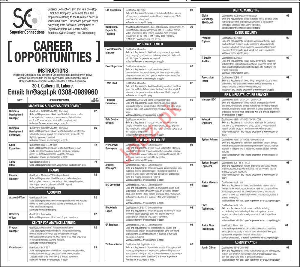 Superior Connections Private Limited Management Jobs 2020