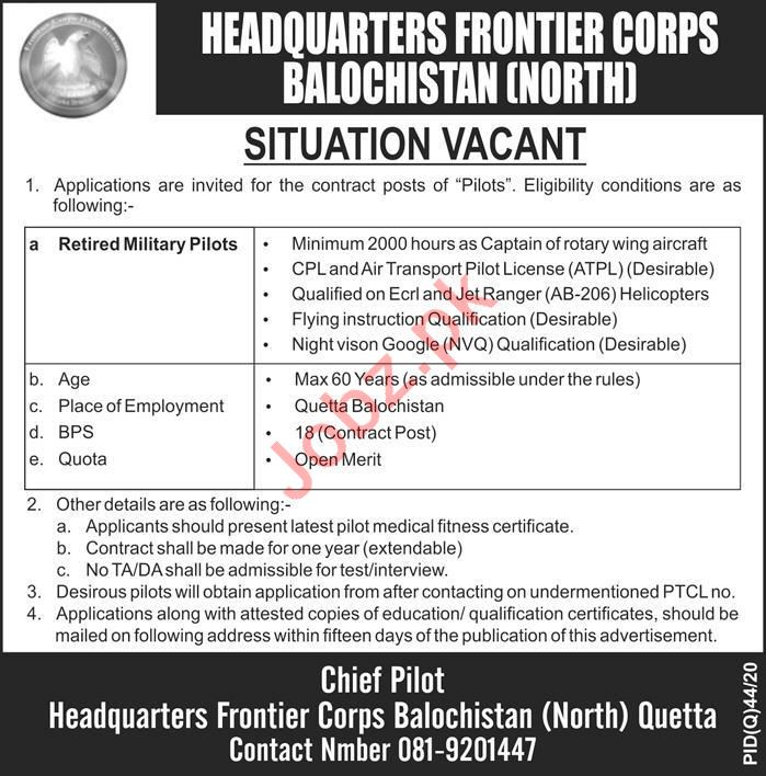 Frontier Corps Balochistan North Jobs 2020 for Pilots