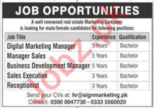 Real Estate Marketing Company Job 2020 in Islamabad