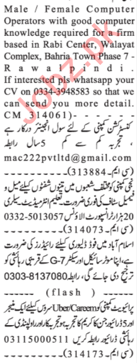 Daily Jang Newspaper Classified Ads 2020 In Islamabad
