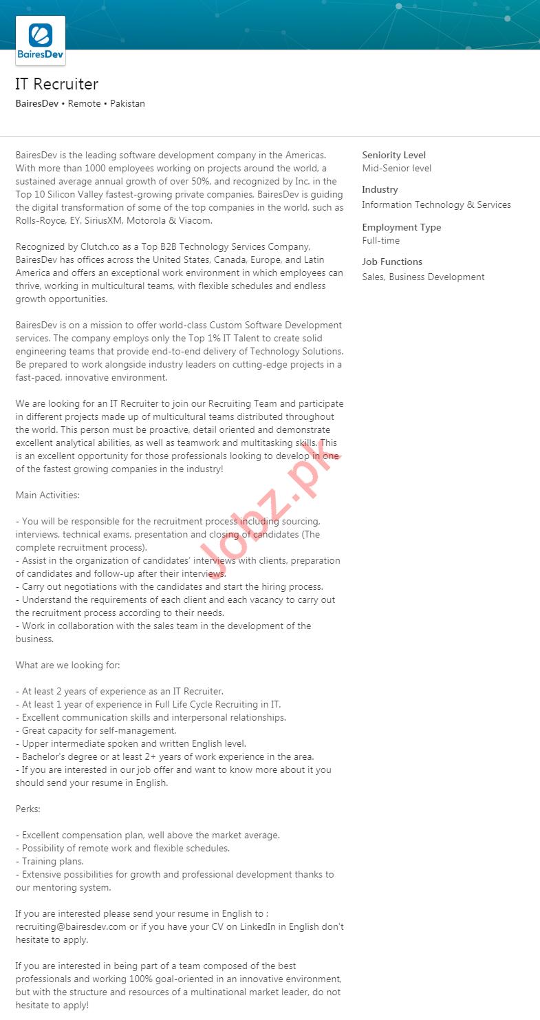 BairesDev Company Job 2020 For IT Recruiter
