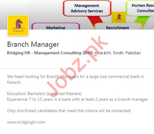 Branch Manager Job 2020 in Karachi