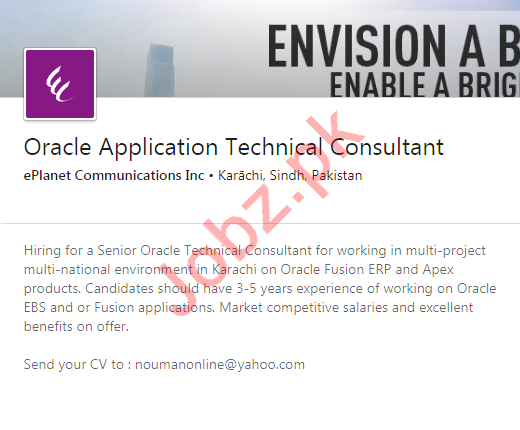 Oracle Application Technical Consultant Job 2020 in Karachi