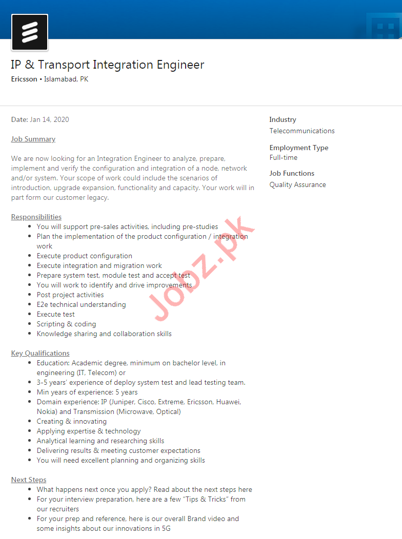 Ericsson Telecommunication Company Job 2020 in Islamabad