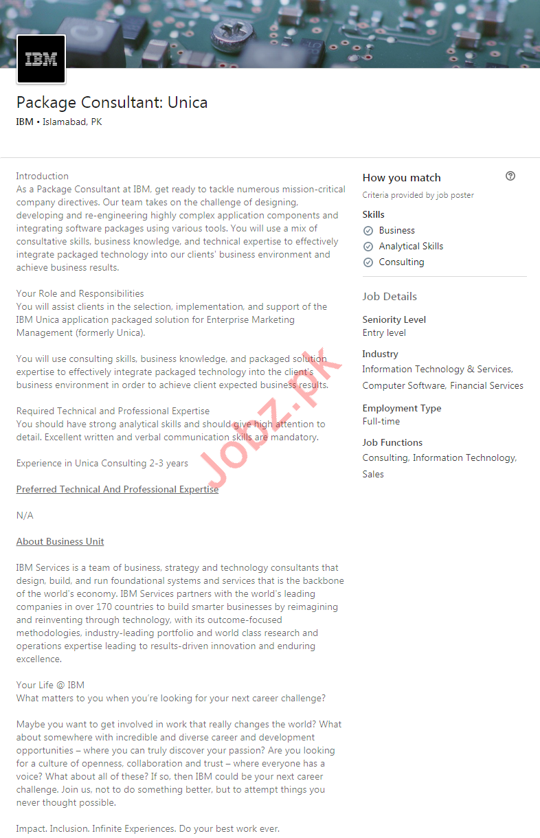 IBM Pakistan Job For Package Consultant in Islamabad