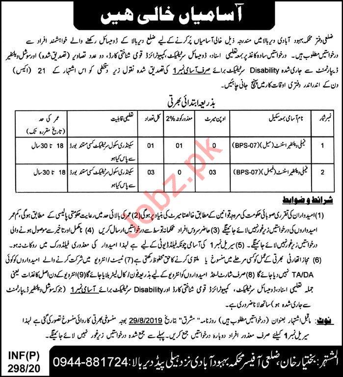 Population Welfare Department Jobs 2020 in Upper Dir KPK