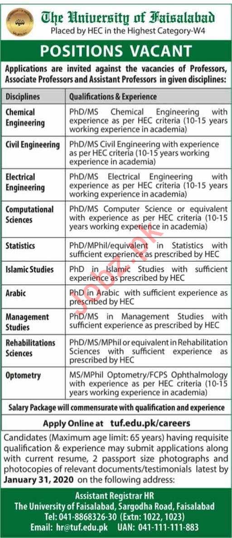 The University of Faisalabad TUF Faculty Staff Jobs 2020