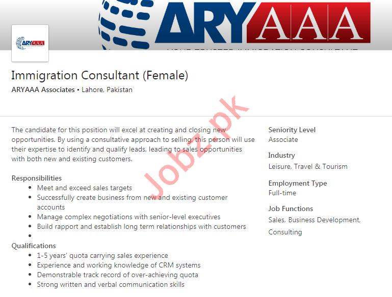 Aryaaa Associates Job For Immigration Consultant