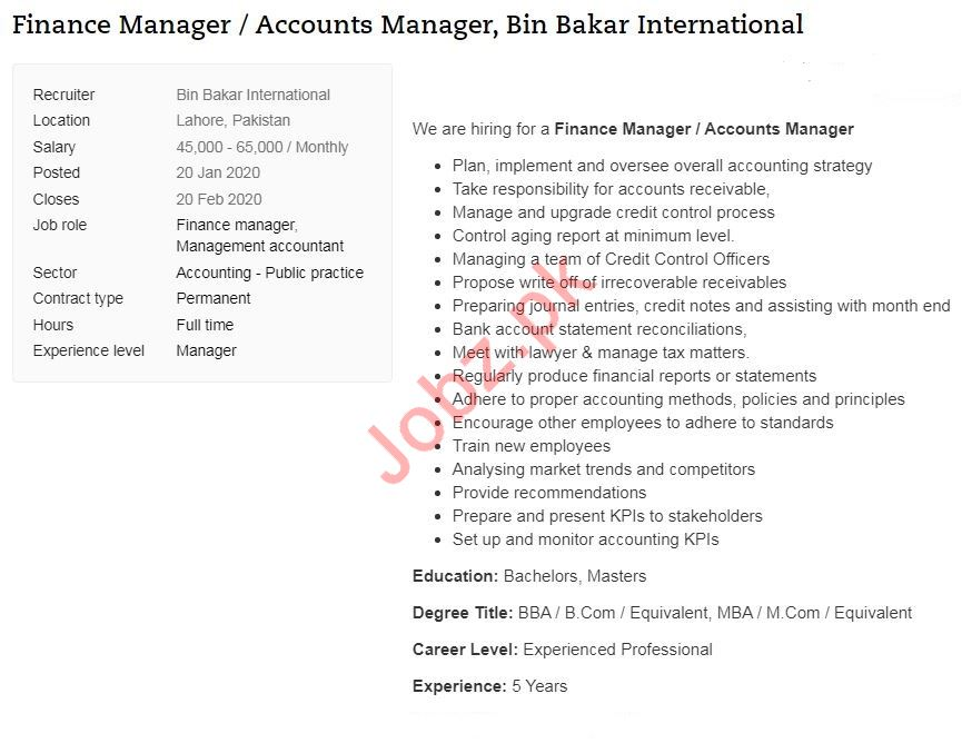 Finance Manager & Accounts Manager Job 2020 in Lahore