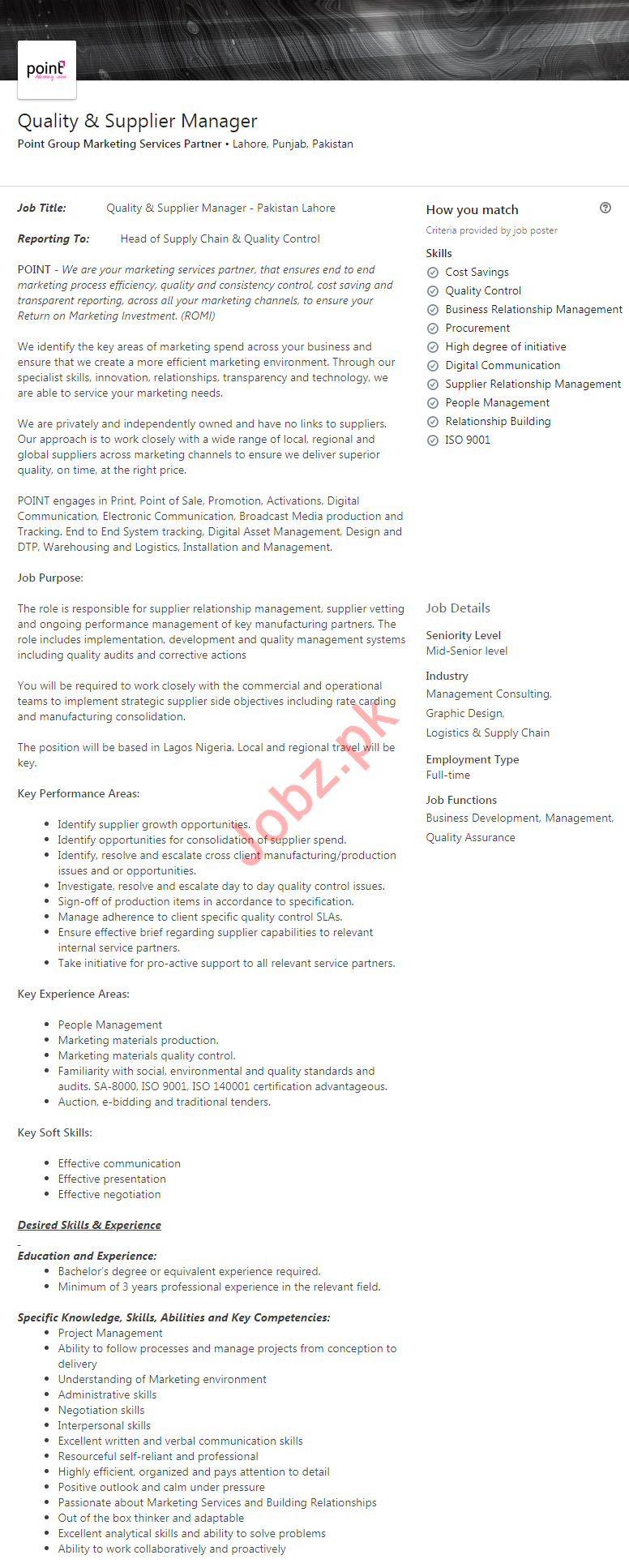 Quality & Supplier Manager Jobs 2020 in Lahore