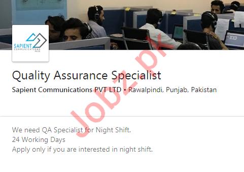 Quality Assurance Specialist Job 2020 For Rawalpindi