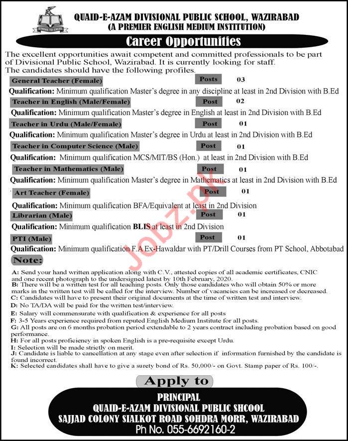 Teaching Staff Jobs in Quaid E Azam Divisional Public School