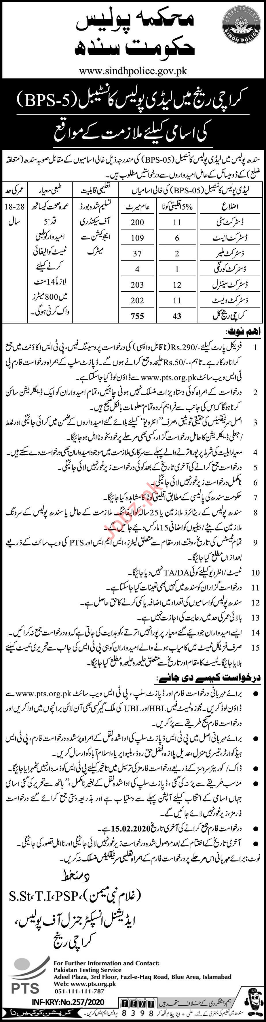 Sindh Police Department Jobs For Constables via PTS