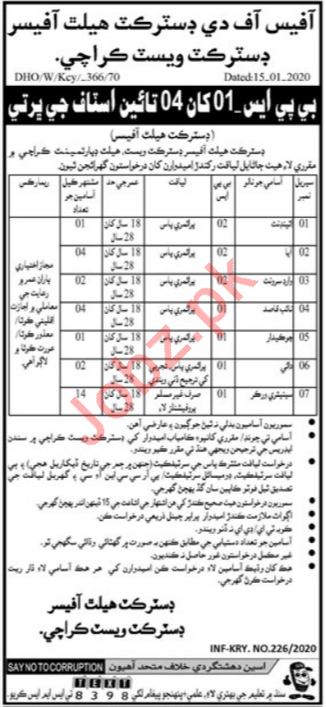 District Health Office Jobs 2020 in Karachi