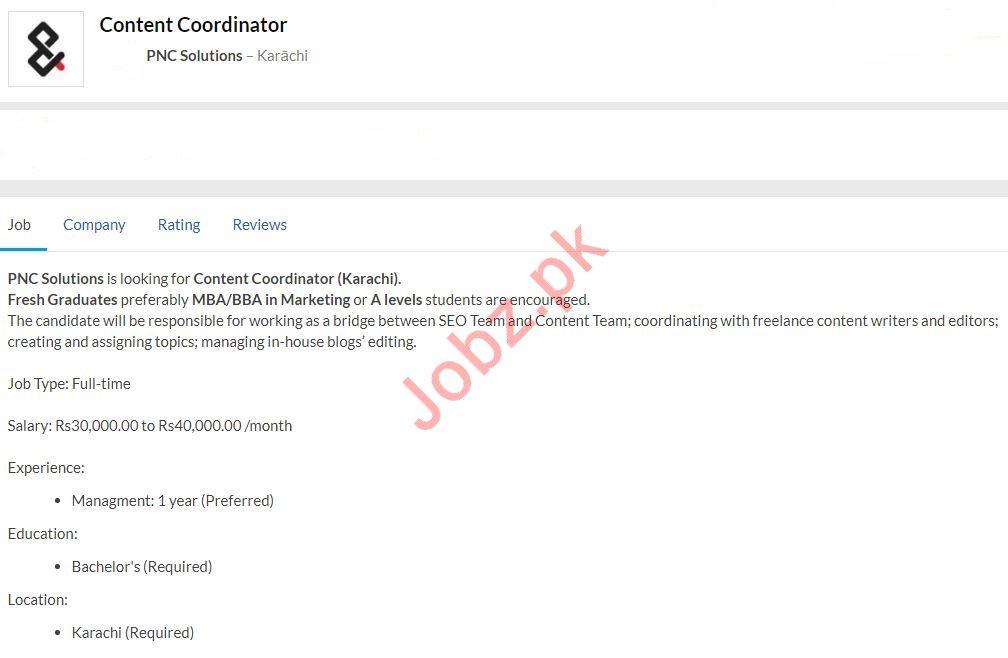 Content Coordinator Job 2020 in Karachi