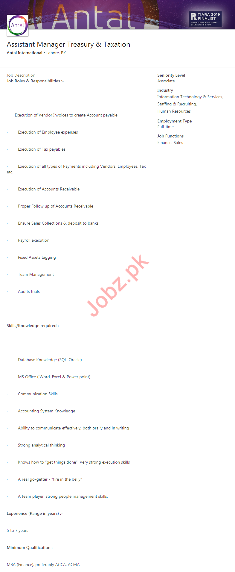 Assistant Manager Jobs in Antal International