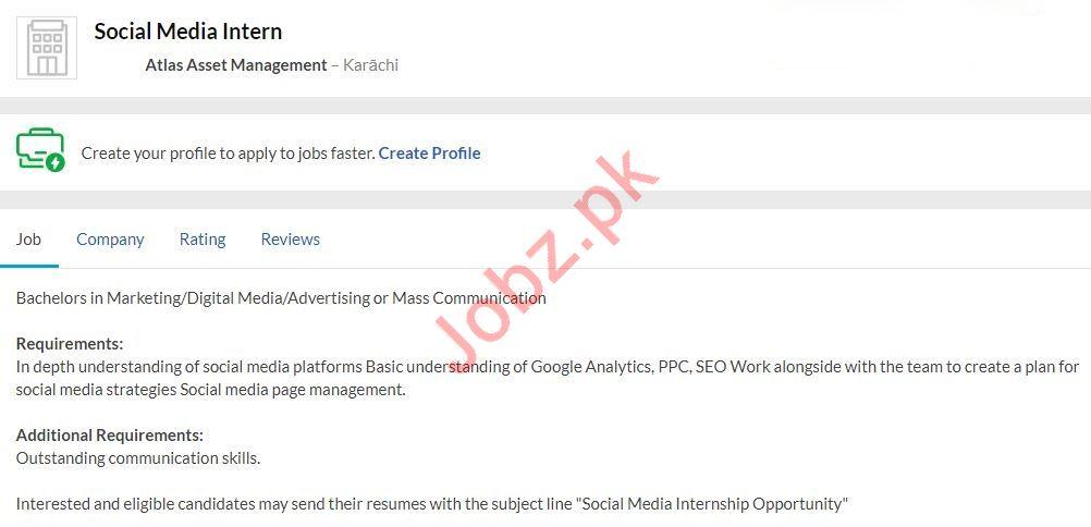 Social Media Intern Job 2020 in Karachi