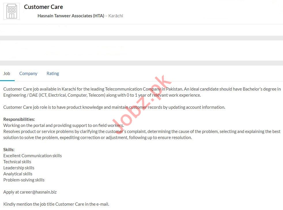 Customer Care Executive Job 2020 in Lahore