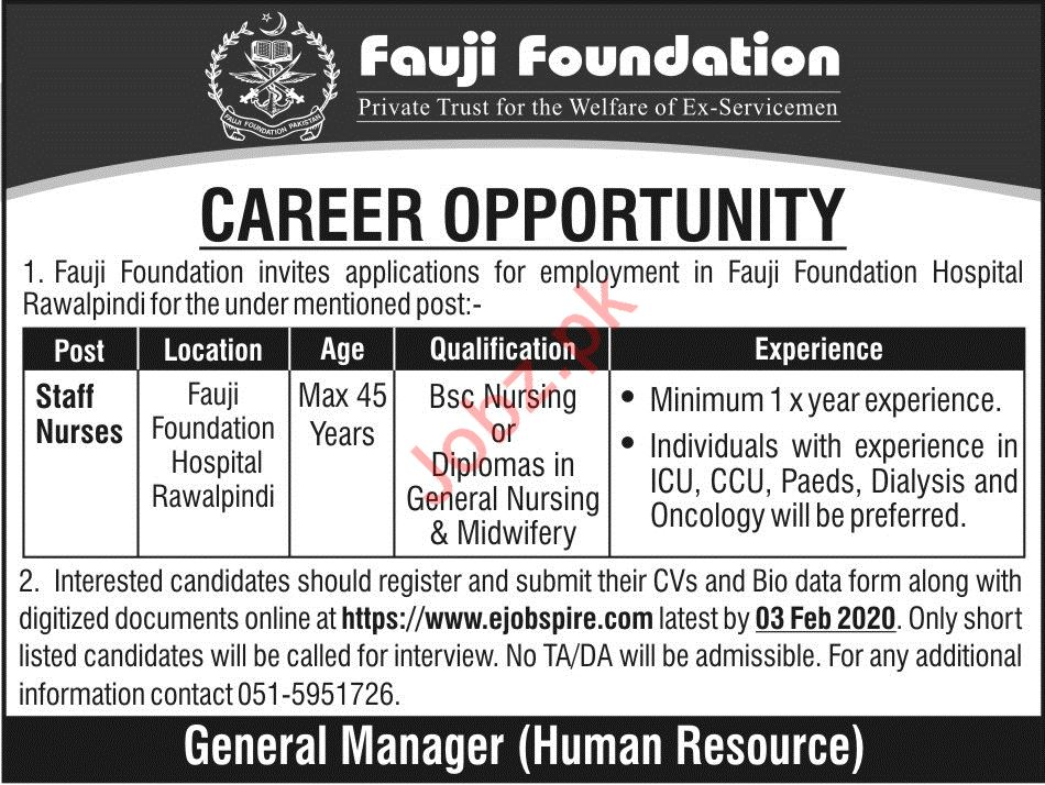Staff Nurse Jobs in Fauji Foundation
