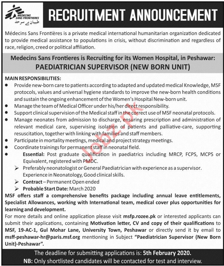 Medecins Sans Frontieres MSF Jobs 2020 in Peshawar