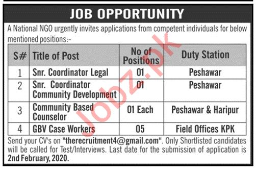 NGO Jobs 2020 in Peshawar