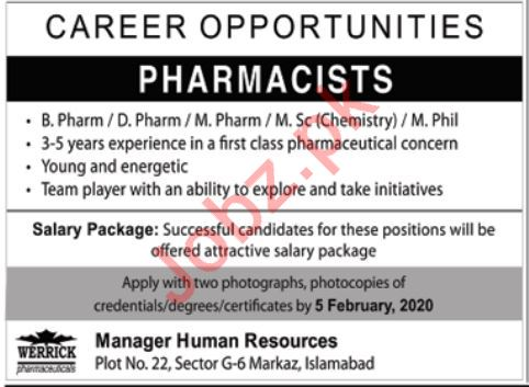 Werrick Health Care Jobs 2020 For Pharmacists in Islamabad
