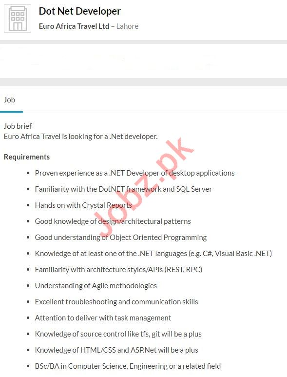 Dot Net Developer Job 2020 in Lahore