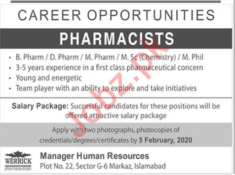 Werrick Health Care Jobs For Pharmacists in Islamabad