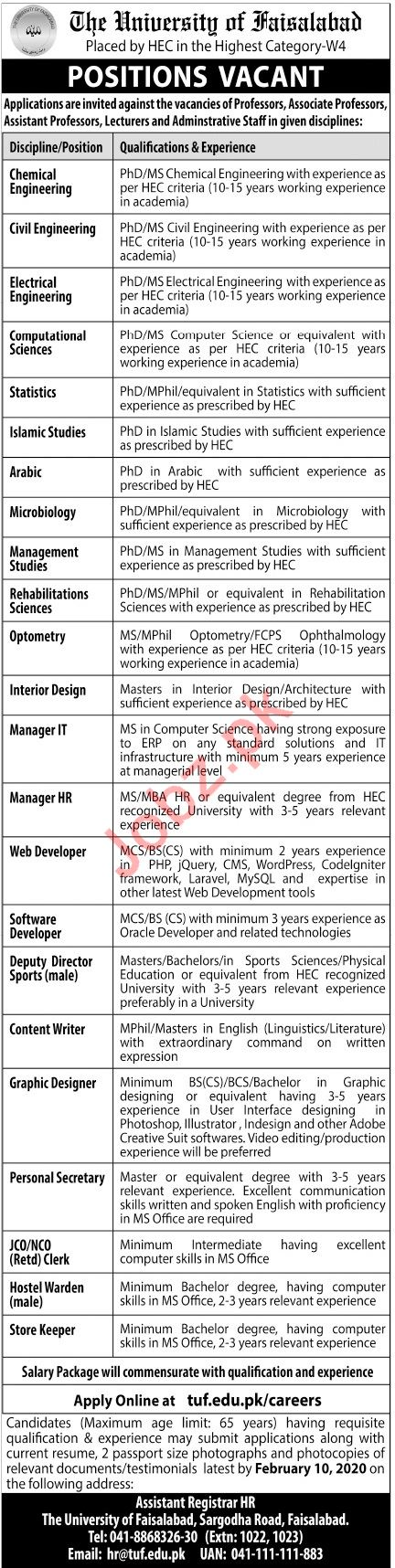 The University of Faisalabad TUF Management Jobs 2020
