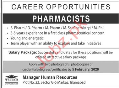 Werrick Pharmaceuticals Islamabad Jobs 2020