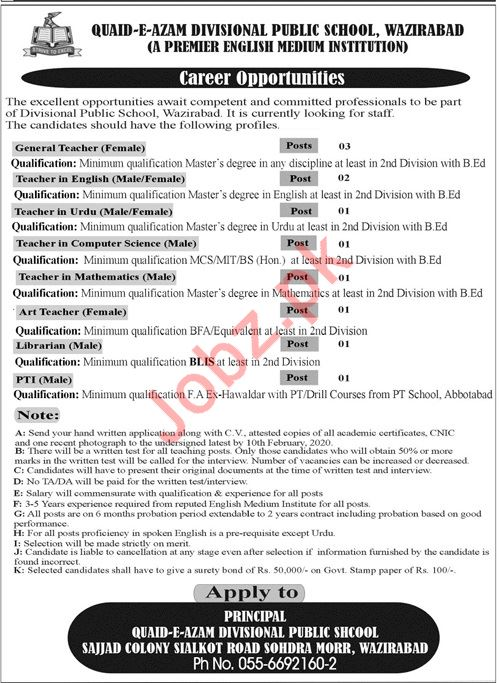 Quaid E Azam Divisional Public School Teaching Staff Jobs