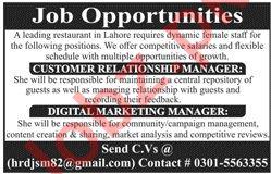 Restaurant Staff Jobs 2020 in Lahore