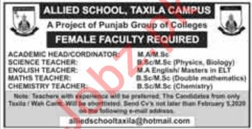 Allied School Jobs For Teaching Staff in Taxila Campus