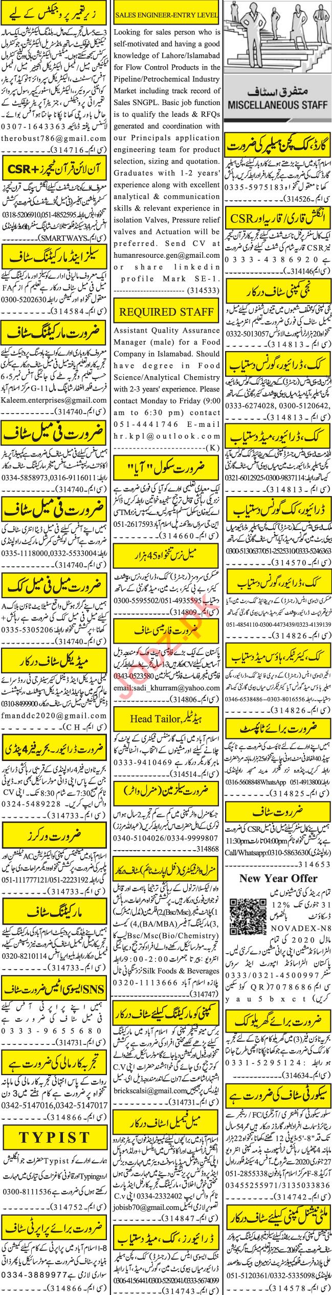 Jang Sunday Rawalpindi Classified Ads 26 Jan 2020