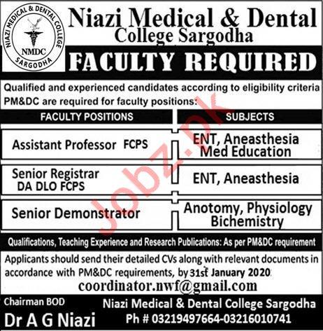 Niazi Medical & Dental College Faculty Jobs 2020 in Sargodha