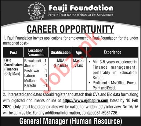 Fauji Foundation Jobs For Field Coordinators Finance