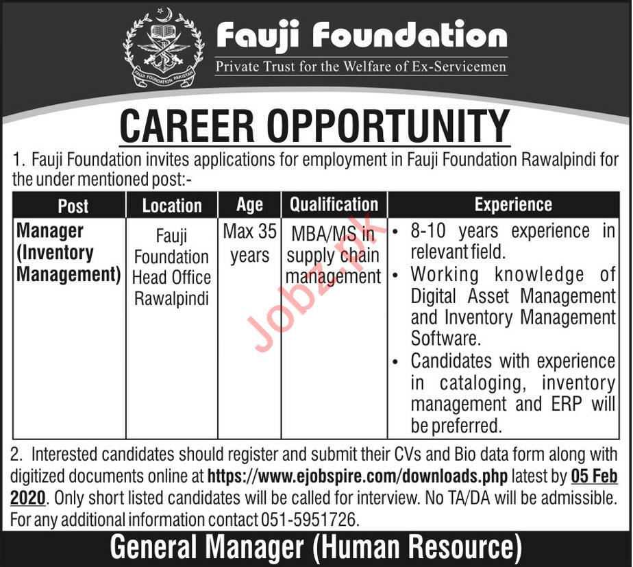 Fauji Foundation Job For Manager Inventory Management