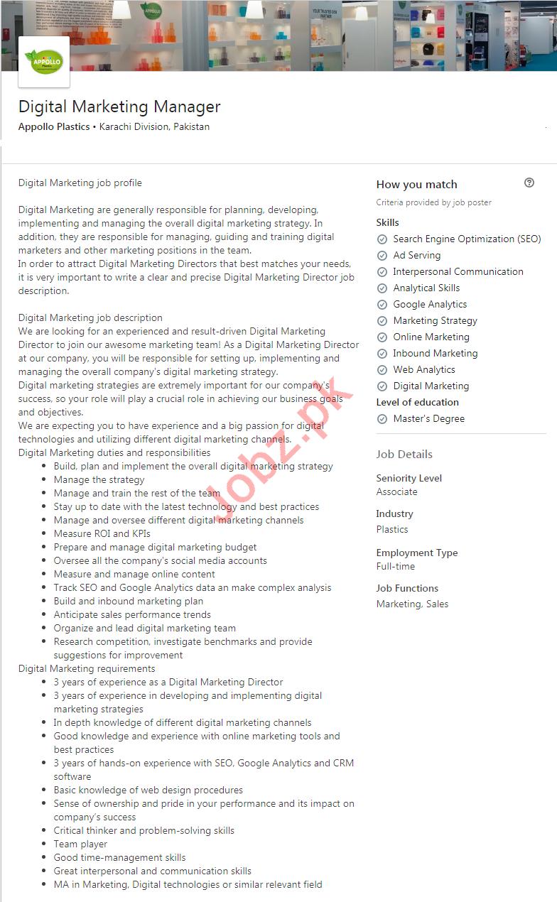 Appollo Plastics Karachi Jobs 2020 for Marketing Manager