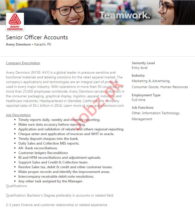 Avery Dennison Karachi Jobs 2020 for Senior Officer Accounts
