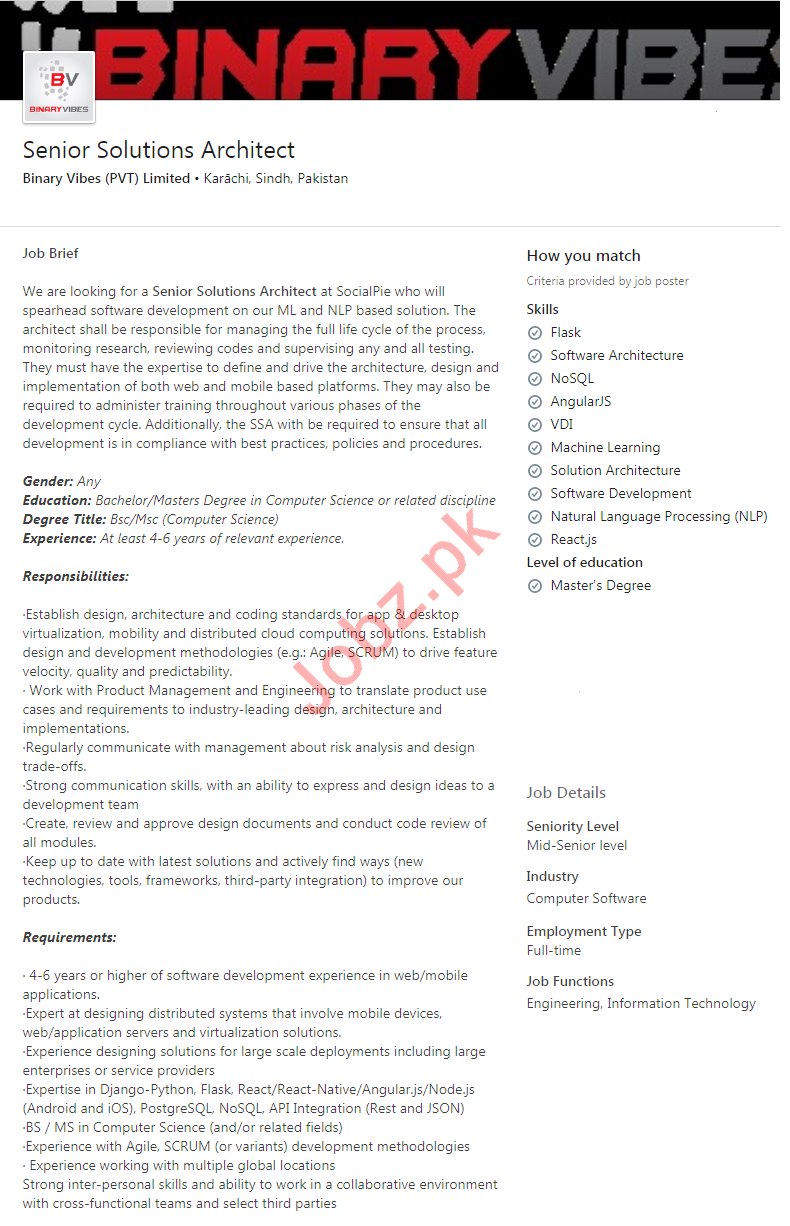 Binary Vibes Karachi Jobs 2020 for Senior Solution Architect