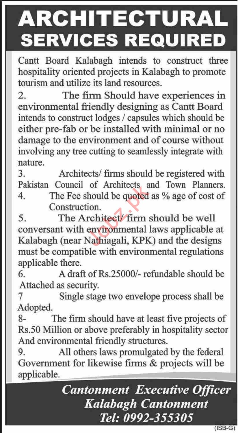 Cantonment Board CB Kalabagh Jobs 2020 for Architect