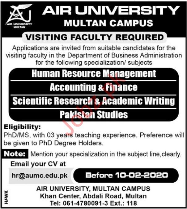 Air University Multan Campus Visiting Faculty Jobs 2020