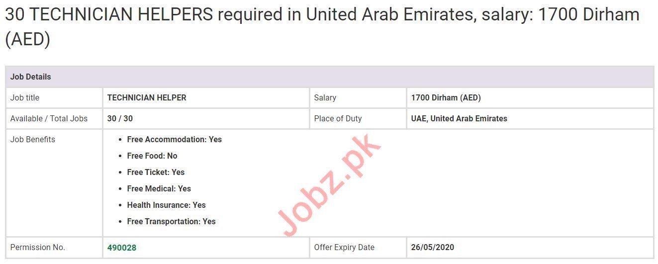 Technician Helpers Jobs 2020 in UAE