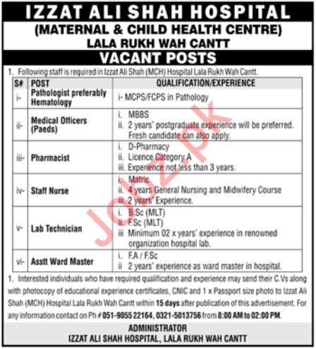 Izzat Ali Shah Hospital Medical Staff Jobs 2020