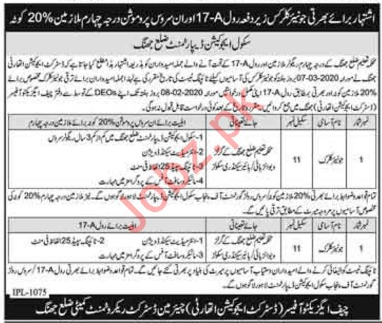 District Education Authority DEA Jhang Jobs 2020