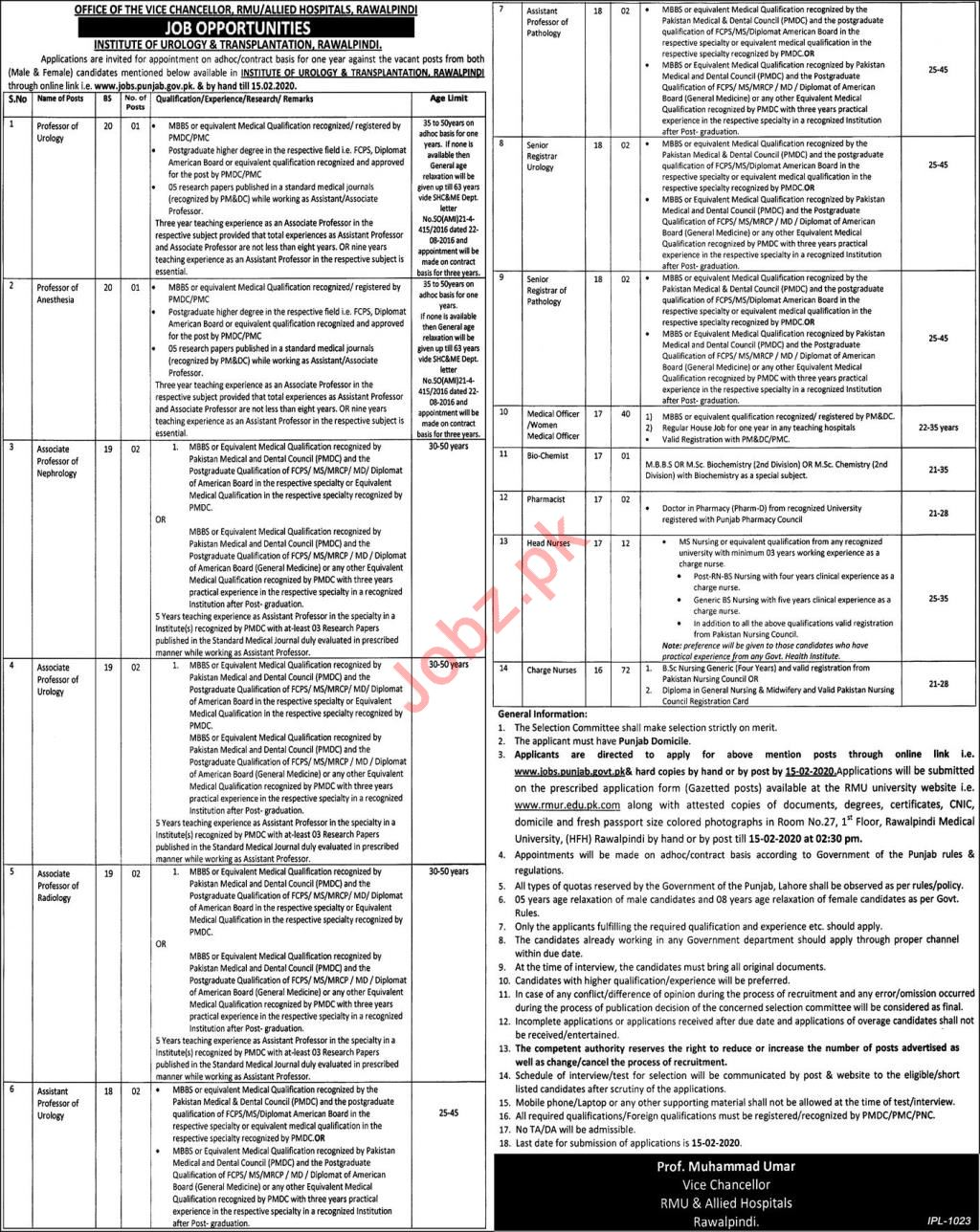 Institute of Urology & Transplantation Jobs in Rawalpindi