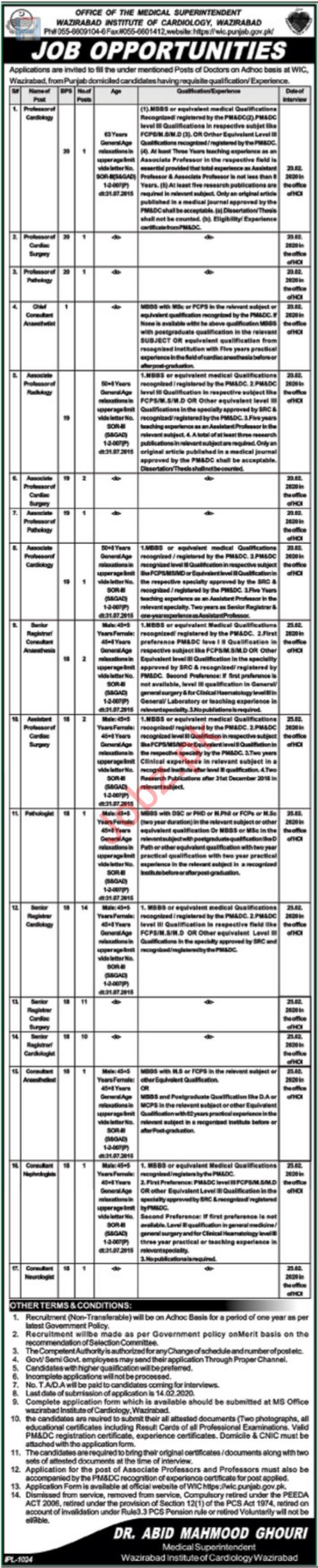 Wazirabad Institute of Cardiology WIC Jobs For Doctors