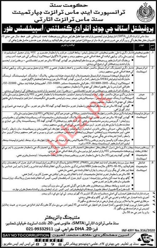 Transport & Mass Transit Department Jobs 2020 For Karachi