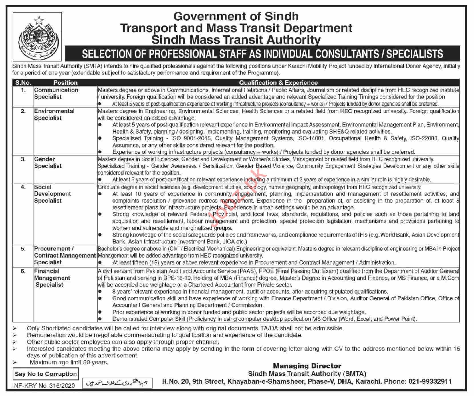 Sindh Transport & Mass Transit Department Jobs 2020